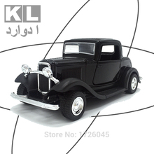 KL Children Gift 1:32 Scale Metal Classic Alloy Pull Back Car With Light And Music Retro Boy Mini Toy Model#