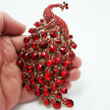 "4.33""Fashion Peacock Bird Pin Brooch Red Rhinestone Crystal"