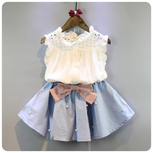 2-8 Years Kids Clothes for Girls The Bow Skirt and Lace Top Summer Suit Korean Style Children's Clothing Sets Baby Toddler Set(China)