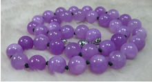 free shipping ~$wholesale_jewelry_wig$ NATURE LAVENDER 12MM  BEADS JADEITE NECKLACE 18INCH