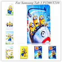 freeshipping new carton despicbale Me stand case PU Leather Case Cover tpu soft cover For Samsung Galaxy Tab 3 7.0 P3200 T210