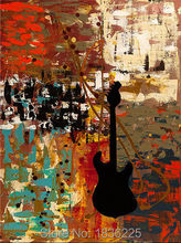 best selling handmade items Hand Painted Guitar Oil Painting on Canvas Abstract Painting Art Works Decoration watercolor powder(China)