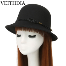 VEITHDIA British ladies' hat autumn and winter dome leather woolen woolen hat 465(China)