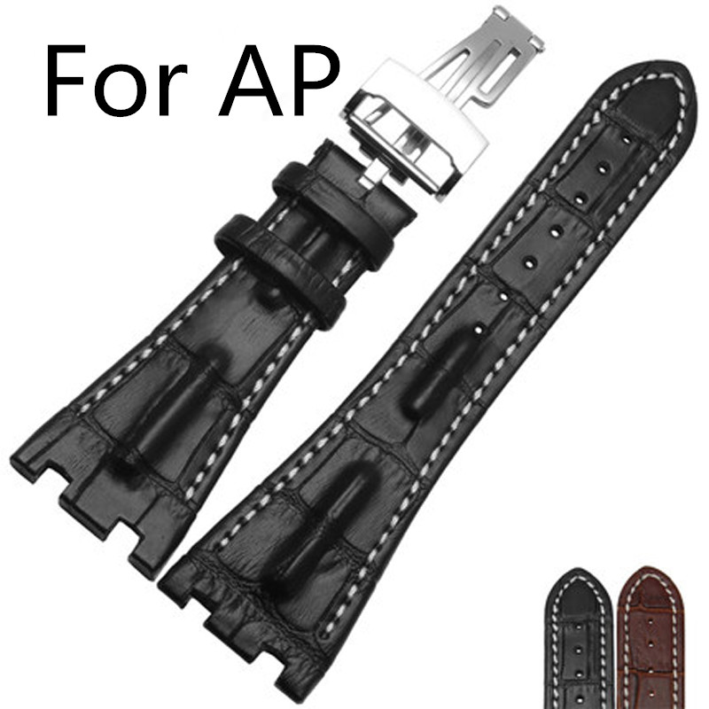 New Arrived 28MM*18MM AP Watchbands,2 Styles to Choose,Black Brown Genuine Leather Watch Straps With Folding Clasp And Logo<br>