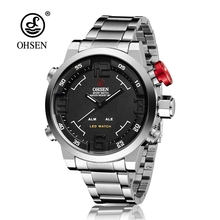 Top Brand OHSEN Fashion Dual Time LED Clock Sports Waterproof Male Watch Digital Anolog Mens Army Wristwatch Quartz Montre Homme(China)