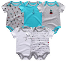 5PCS/LOT Unisex Top Quality Baby Rompers Short Sleeve Cottom O-Neck 0-12M Novel Newborn Boys&Girls Roupas de bebe Baby Clothes(China)