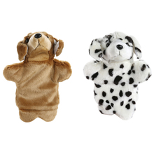 Lovely Dog Pattern Hand Puppet Sleep Story Performance Show Puppet Soft Plush Baby Pacify Parent-Kids Interaction Hand Game Toy