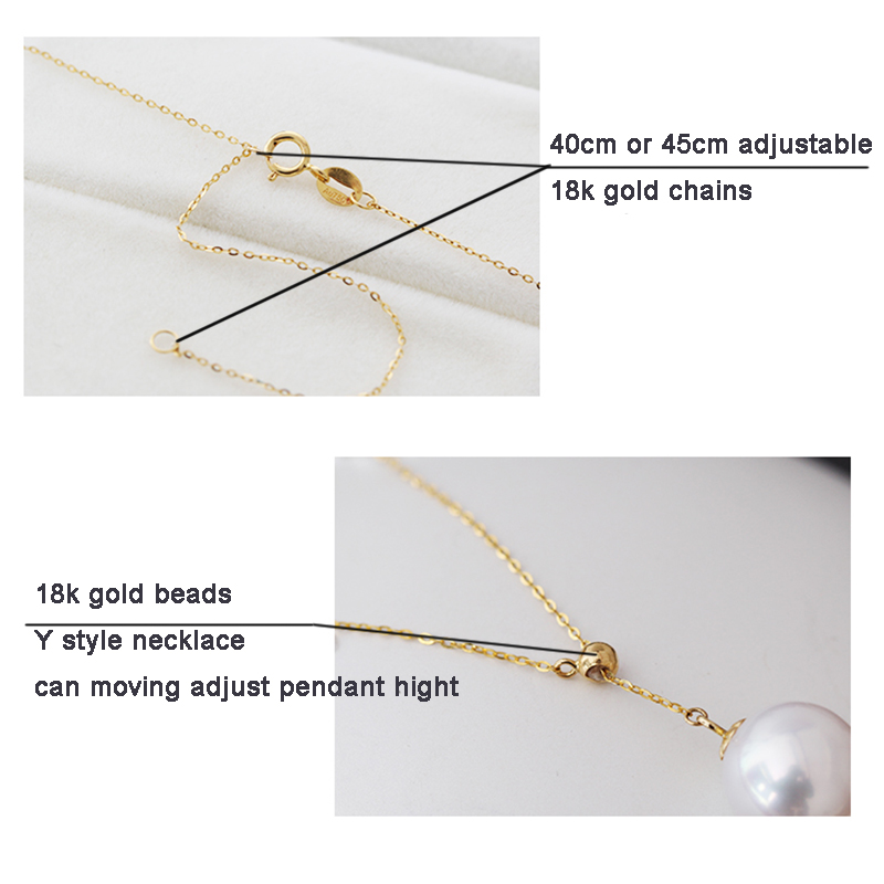 Sinya New Trendy Multifunctional Pendant 18k Au750 gold necklace for women girls lover Y style with Natural high luster pearls (16)