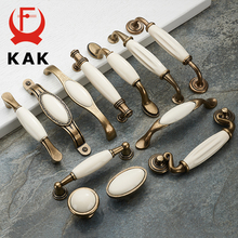 KAK Antique Bronze Ceramic White Cabinet Handles Zinc Alloy Drawer knobs Wardrobe Door Handles Simple European Furniture Handle(China)