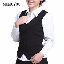 Women Formal Work Dress Suit Vest Sleeveless Cafe Bar Shop Waitress Waistcoat Gilet Jacket Coat Outwear 200-A371(China)