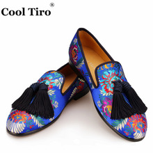 Cool Tiro Jacquard Loafers Men Silk Tassels Moccasins Men's Smoking Slippers Wedding Dress Shoes Leather Slip on Flats Handmade(China)
