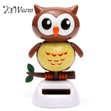 KiWarm Cute Solar Powered Owl Dancing Automatic Swinging Head Owl Statues For Home Desk Office Car Ornament Toy Gift Crafts