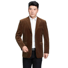 Man Corduroy Blazer Elegance Tailored Suit Jackets Camel Wine Red Navy Blue Basic Blazers Men Business Casual Suit Outfit Office(China)