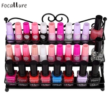 Focallure 3-Tier Metal Heart Design Nail Polish Display Wall Rack Stand Organizer Holder g6705(China)
