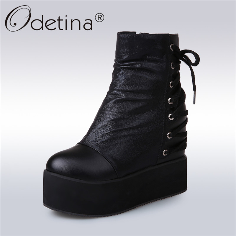 Odetina 2017 Women Hidden Heel Platform Ankle Boots Side Zipper Thick Sole Glitter Boots Lace Up Winter Warm Shoes Big Size 47<br>