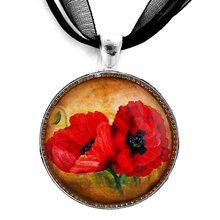 Two Red Poppies Pendant Necklace 2016 New Arrival Glass Art Long Necklaces Jewelry  YP2452