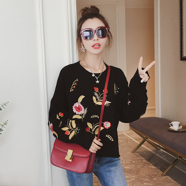 Sweaters O-Neck Full Sleeve Regular Pullovers Embroidery Animal Standard Winter Women Fashion 2018 Office Lady