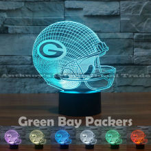 Green Bay Packers NFL Team Logo Collection model USB lamps 7 Color Changing Rubgy team logo LED Lamp Christmas gift Drop Ship