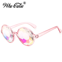 Who Cutie 2017 Kaleidoscope Sunglasses VERSAE Women Retro Round Crystal Lens Prism Glasses Lady Gaga Celebrity Cosplay Party(China)