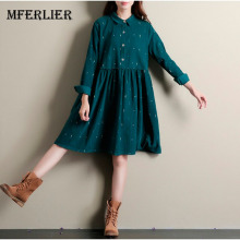 Winter Autumn Dresses Green Color Long Sleeve Casual Loose Dresses Turn Down Collar Corduroy Dress A Line Lolita Dress(China)