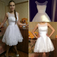 New 2017 White Short Wedding Dresses The Brides Sexy Lace Wedding Dress Bridal Gown Plus Size Ivory vestido de noiva Real Sample
