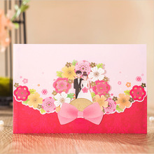 Wishmade Groom&Bride Design Colorful Flower European/Chinese style Wedding Invitations Elegant Laser Cut Invite Card CW7002_RE