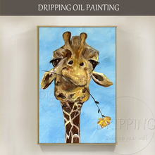 New Arrival Hand-painted Funny Animal Giraffe Oil Painting Handmade Modern Decor Painting Humor Giraffe with Flower Oil Painting(China)