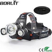 BORUiT RJ-5000 6000LM XM-L2 LED Headlight 4-Mode Headlight Power Bank Head Torch Camping Hunting Flashlight 18650 Battery