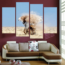 4 Panel Canvas Art Canvas Painting Elephant Sand Dust HD Printed Wall Art Poster Home Decor Wall Picture for Living Room XA087A