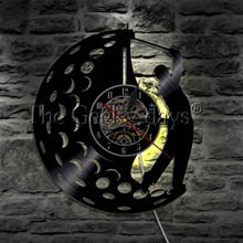 1Piece Man Playing Golf LED Silhouette Wall Lamp Personalised Golf Ball Multi Colors LED Light Sign Lighting Clock(China)