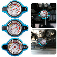 Blue 0.9/1.1/1.3 BAR Temperature Meter Thermostatic Radiator Cap Pressure Rating Gauge Small Head for normal car
