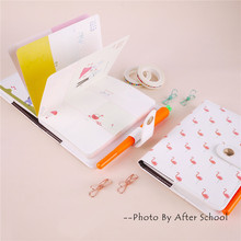 Cute Cartoon Flamingo Leather Weekly Notebook Multi-functional Inner Pages's Planner Suit With Clip etc Suit Lovely Mini Notepad(China)