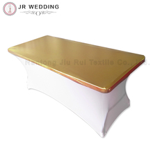 "30"" Depth x 72"" Gold Length Rectangular Metallic Bronzing Elastic Spandex Strech Table Topper"