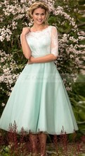 2017 Mint Green Junior Bridesmaid Dresses with Sleeves Lace Top Short Tea Length Wedding Guest Dress Free Shipping