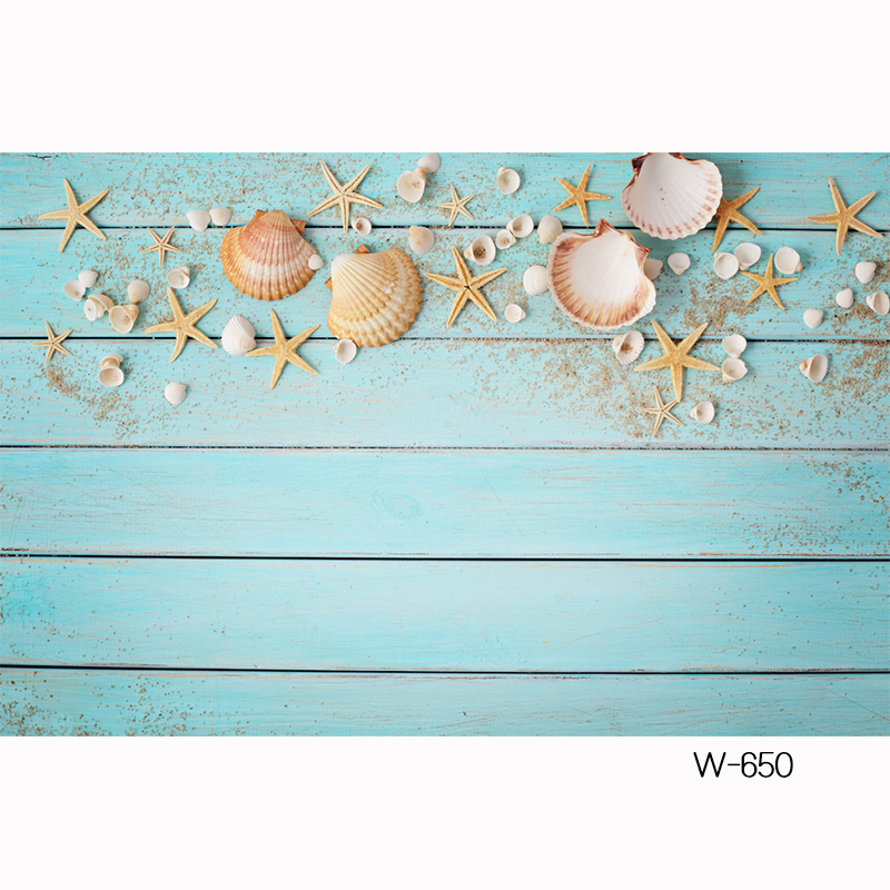 HUAYI custom Shiplap Flatlay wood board Backdrop for Photography with seastars shell beautiful blue wood table photo booth W-650