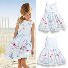 Baby Girl Party Dresses White Flower Beach Sundress One-piece Casual Clothes