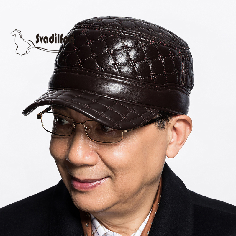 Autumn and winter leisure men aged Leather Baseball Cap Hat flat cap winter outdoor male sheep<br>