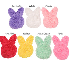14pcs Rabbit Chiffon Ruffles Flower Bunny Hair Flower DIY Accessories Boutique Easter Hair Accessory No Clips(China)