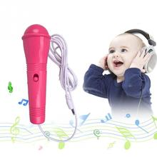 2*13cm Unisex Girls Boys Microphone Kids Mic Karaoke Singing Pink Blue Yellow Learning & Education Toy Musical Instrument(China)