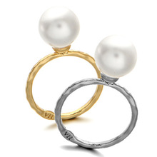 KAMEIER European fashion pearl rings for women Simple round pearl rings women have 2 colors as lady party rings gift bulk