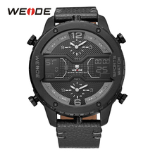 Buy WEIDE Military Men Black Sport Three Time Zone Watches Analog Digital Calendar Date Day Quartz Leather Strap Buckle Wristwatches for $50.01 in AliExpress store