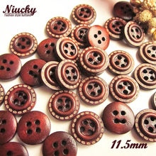 "Niucky 11.5mm 7/16"" 4 holes Red coffee dotted line wood buttons for sewing clothing craft decorative accessories W0201-015(China)"