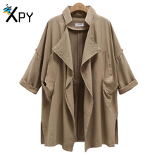 Fashion Trench Coat Loose Large Size Women Trench Summer Style thin Funds Long Pattern Women Clothing LR4