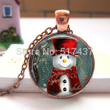 CR32-Red copper Christmas Necklace  art glass dome pendant Snowman with scarf Jewelry Snowman Glass Tile Charm HZ1