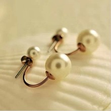 Korean super Stud Earrings, double pearl, welcome to place an order !E093