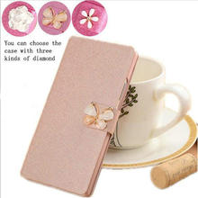 Hot sales!Flip PU Leather Phone Cover Case For Umi London Magnetic Flip Back Cover with Camellia and butterflies