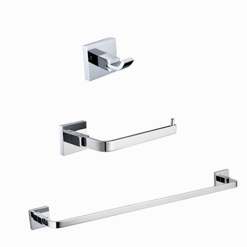 2016 Wholesale bath hardware set solid brass chrome robe hook paper holder single towel bar 3 pcs bathroom accessories set<br><br>Aliexpress