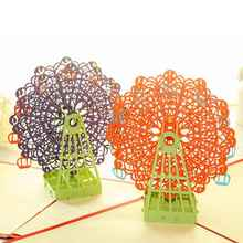Valentine's Day gift orange Color 15*15CM Papercraft Pop-Up 3D Ferris Wheel Valentine Cards May Love Goes Round And Round