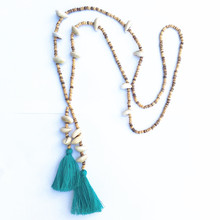 Dongmu jewellery handmade wooden beads shell decoration Bohemia jewelry long chain summer tassel accessories necklace birthday g(China)