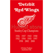 Detroit Red Wings Flag 3X5FT 90x150cm 100D Polyester digital printing STANLEY CUP CHAMPIONS banner